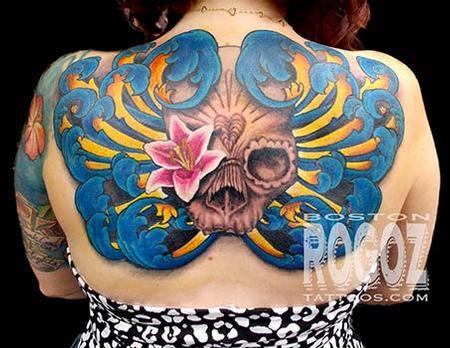 Skull and filigree backpiece tattoo Tattoo Design Thumbnail