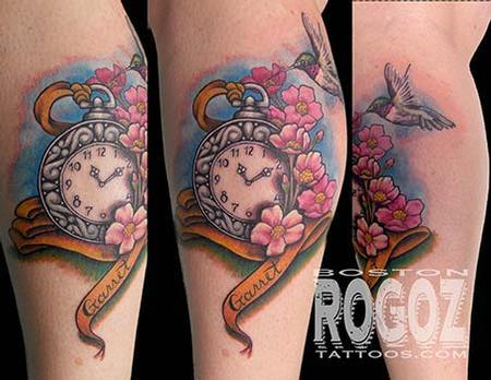 Pocket watch and cherry blossoms tattoo Tattoo Design Thumbnail